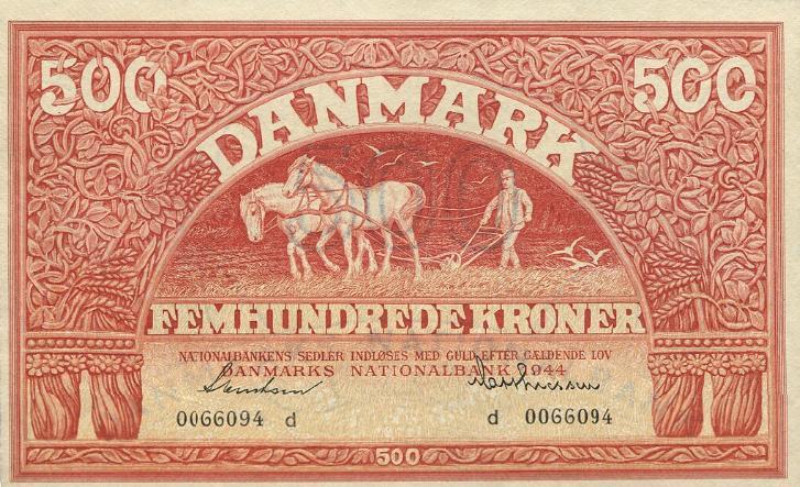 500 kr 1944 d, nr. 0066094, Svendsen / Mathiessen, Sieg 127, DOP 136, Pick 41a