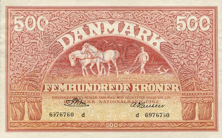 500 kr 1962 d, nr. 6976760, Riim/ A. Hansen, Sieg 127, DOP 136, Pick 41k