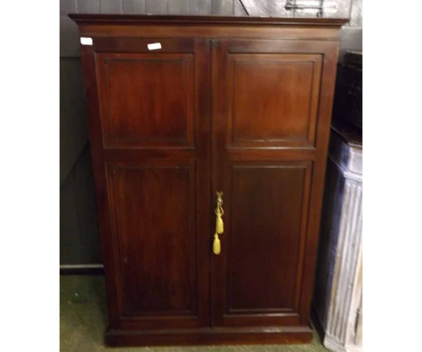 Early 20th century Maple & Co mahogany two door hall cupboard, with rail and shelf interior