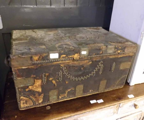 Unusual 19th century leather and brass studded travel trunk, of rectangular hinged form, bearing manufacturer's label to interio