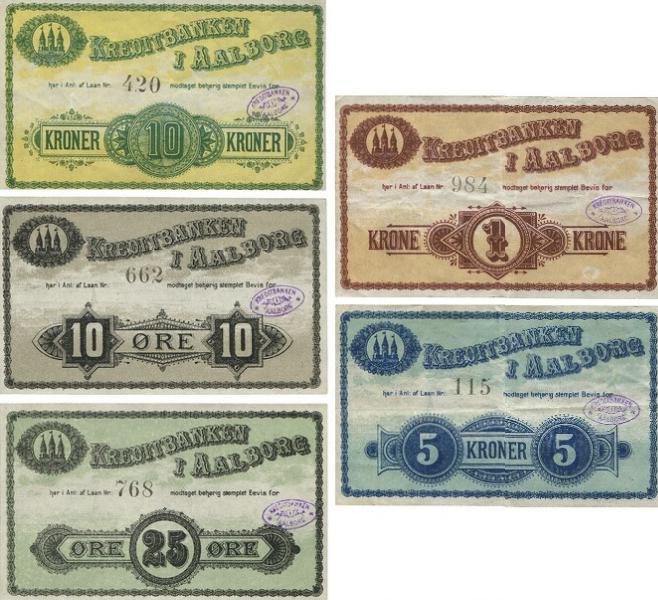 Kreditbanken i Aalborg, 3. udgave, komplet serie, 10, 25 øre, 1, 5, 10 kr.