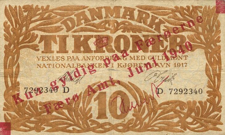 10 kr 1940, Sieg 9, Pick 3, provisorisk overtryk på Heilmann type I, 1917 D