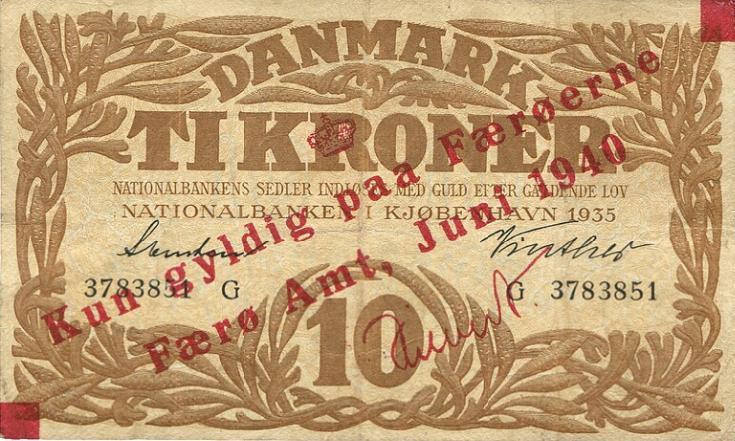 10 kr 1940, Sieg 9, Pick 3, provisorisk overtryk på Heilmann type II, 1935 G, nr. 3783851