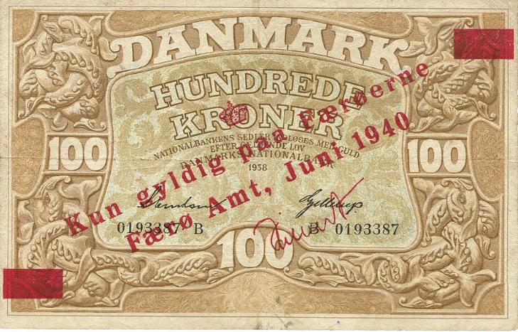 100 kr 1940, Sieg 11, Pick 5, provisorisk overtryk på Heilmann type III, 1938 B, nr. 0193387