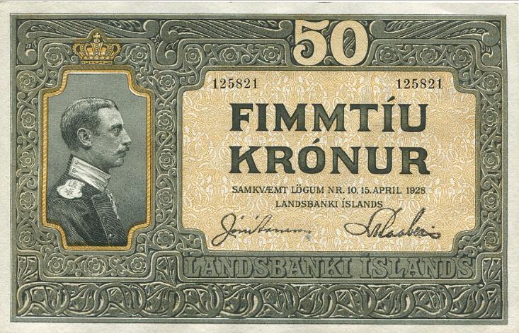 50 kr u. år (1931), nr. 125821, Jon Arnason / Ludvik Kaaber, Sieg 31, Pick 25 - sjælden i denne smukke kvalitet