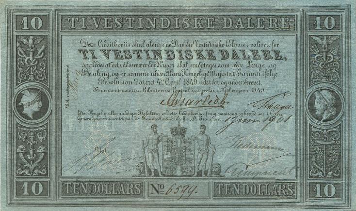 Frederik VII, 10 vestindiske dalere 1849 (udgivet og påtegnet 1. juni 1901), No. 6594, Sieg 17, Pick 4