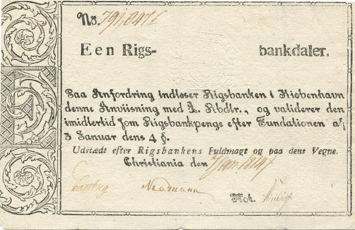 Rigsbankdaler 1814, Sieg 6, Pick A12, NP A74 - pænt eksemplar