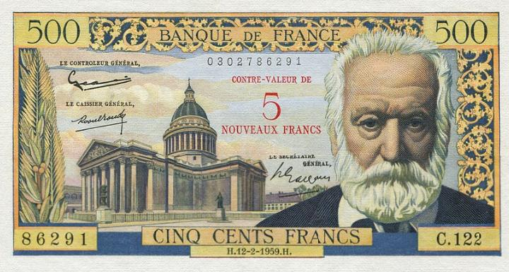 France, 5 Nouveaux Francs on 500 Francs 1959, Pick 137b