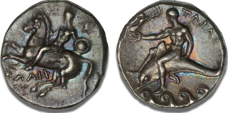 Calabria, Tarentum (Taras), Didrachm / Nomos, c. 302 - 272 BC, Vlasto 685