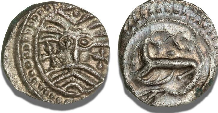 Sceatta af såkaldt Wodan (Odin) / Monster-type, S 843, M 275 ff., 1,18 g, ubetydelig irplet - fint eksemplar præget på en sølvho