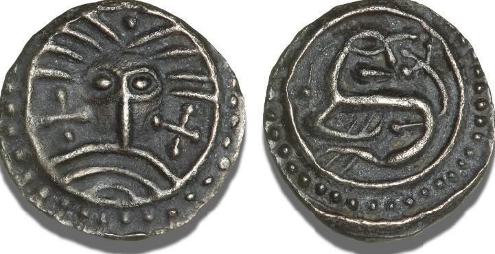 Sceatta af såkaldt Wodan (Odin) / Monster-type, S 843, M 275 ff