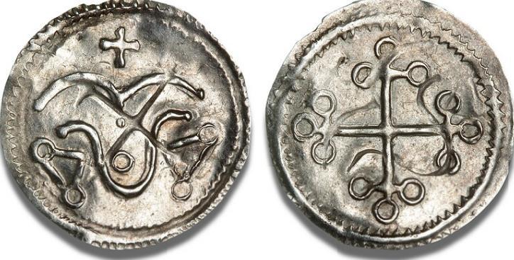 Hedeby (?), halvbrakteat, ca. 975 - 985, Hbg. 2, Malm. KG 10a