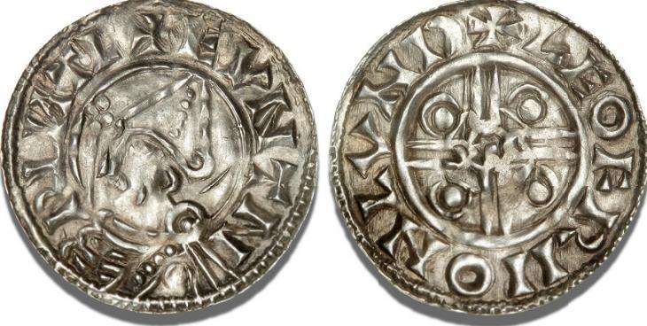 Sydskandinavien, penning, imitation af Knud d. Stores engelske Pointed Helmet type, cf. Hild. 2525