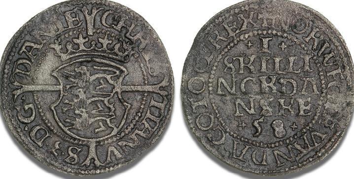 Skilling 1558, København, H 6B, S 26 - uhyre sjældent årstal