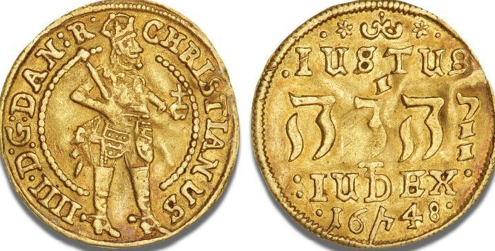 """Dukat 1648, """"Hebræertype"""", H 33, Sieg 128.2, S 4, F 39"""