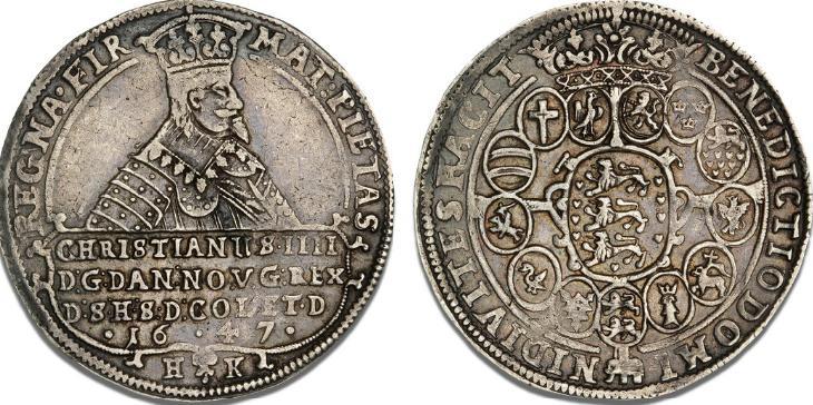 Speciedaler 1647, H 55D, S 15, Dav. 3536