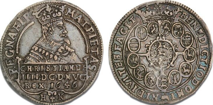 1/2 speciedaler 1646, H 59C, S 36 - pænt patineret eksemplar