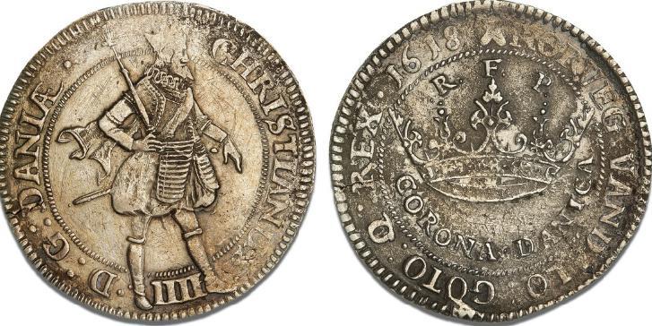 """2 krone 1618 (""""Corona Danica""""), H 105B, Sieg 87.6, S 25, Dav. 3516"""