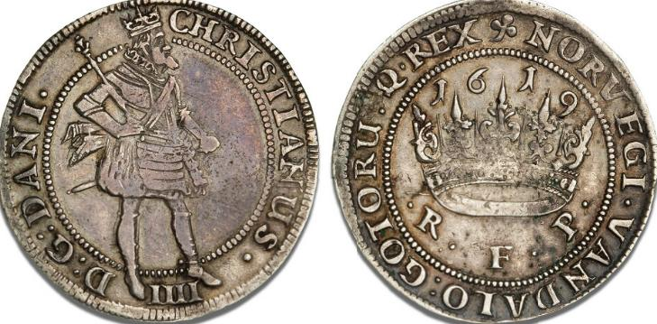 Krone 1619, H 106A, S 27, Sieg 84.2 (sjælden), ex. PHK IX lot 86