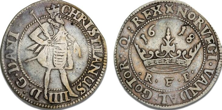 Krone 1618, H 106B, S 59, Sieg 84.5 - sjælden variant med tidlig trebladet krone