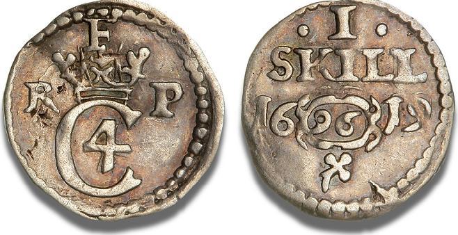 Kroneskilling 1619, H 113A, S 151 - pænt eksemplar af den sjældne første kroneskilling