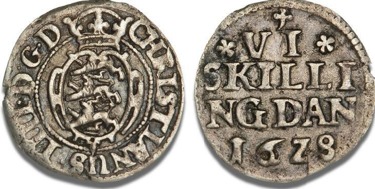 6 skilling 1628, H 139A, S 54, Sieg 49.1 - særdeles sjælden type med møntmærket i form af et kløverblad over midterskriften