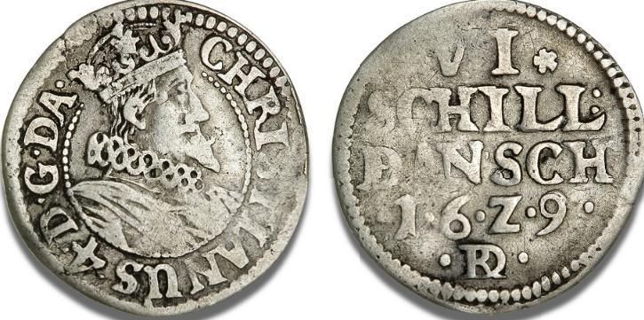 """6 skilling 1629, H 140A, S 51 - særdeles sjældent årstal af denne type præget i København for """"Borgerskabets Mønt"""""""