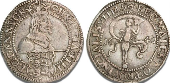 Glückstadt, 8 skilling lybsk 1642, H 175A, S 16 - pænt eksemplar af dette sjældne årstal