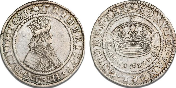 Krone 1651, H 84A, Aagaard 6.3 (51-8/51-37), Dav. 3567