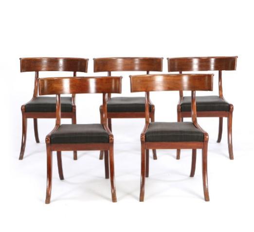 A set of five Danish Klismos mahogany and beech chairs