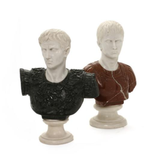 Two marble busts depicting Octavian