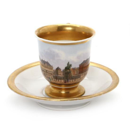 Late Empire porcelain cup and saucer decorated with Kongens Nytorv, Copenhagen