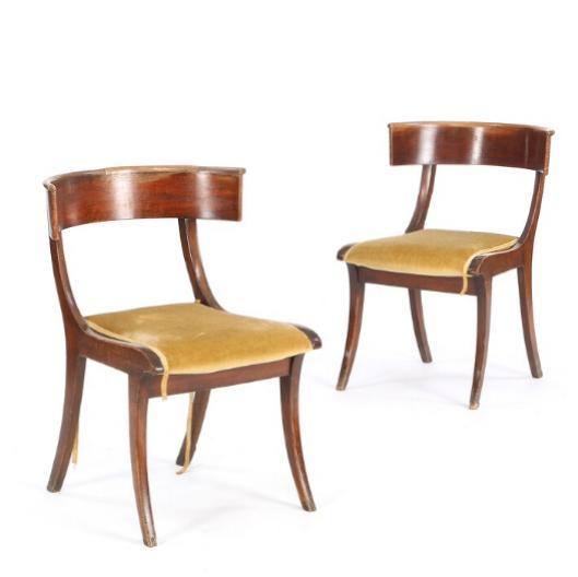 A pair of Danish Klismos mahogany chairs
