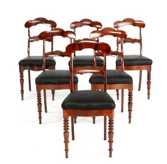 A set of six Danish late empire mahogany chairs