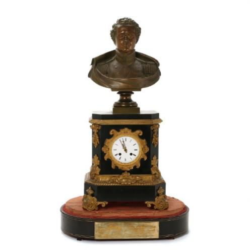 A Danish mid 19th century ormolu and patineted bronze mantel clock, base of black marble