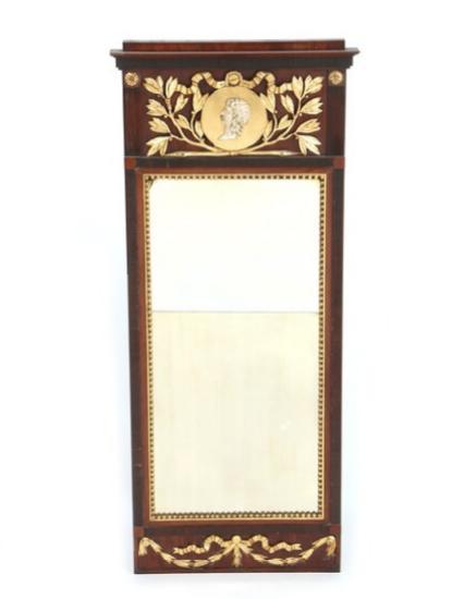 A Danish Louis XVI mahogany and giltwood mirror