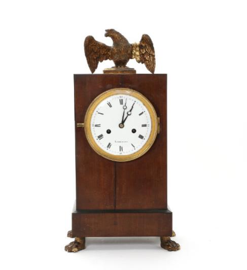 A Danish Empire mahogany and giltwood mantel clock, white enemal dial