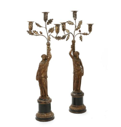 A pair of 19th century gilt and painted wood candelabras, gilt metal branches