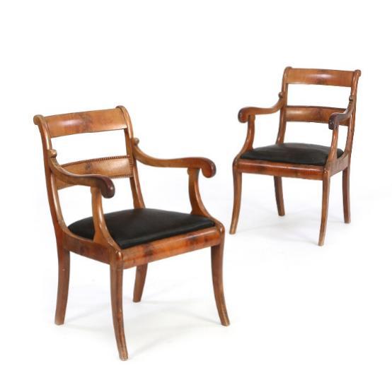 A pair of Danish late Empire mahogany armchairs