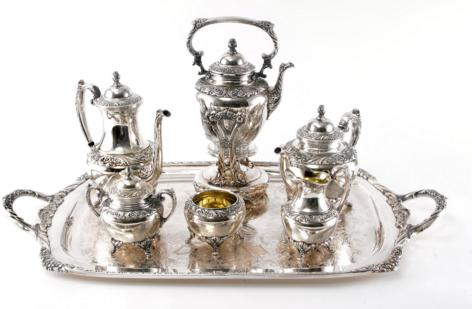 SEVEN PIECE SILVER PLATE TEA SERVICE BY ROGER BROTHERS IN THE HERITAGE PATTERN