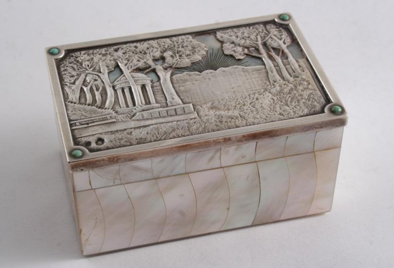 A LATE 19TH CENTURY AUSTRO-HUNGARIAN MOUNTED MOTHER OF PEARL BOX