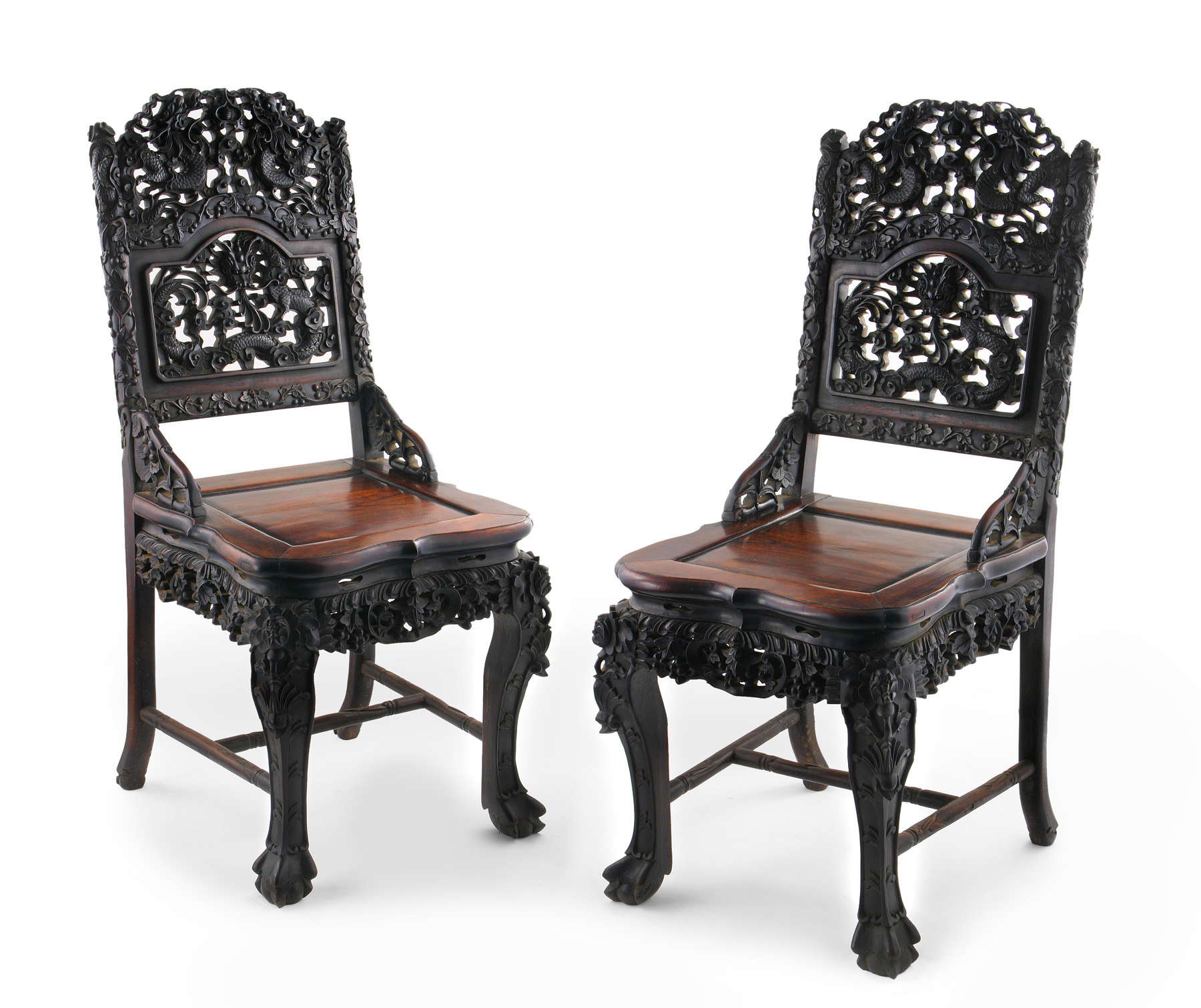 PAIR OF QING CARVED ZITAN CHAIRS