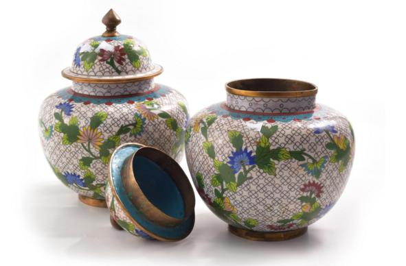 CHINESE ENAMELED BOX AND PAIR OF CLOISONNE VASES
