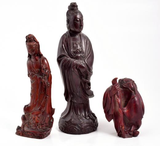 THREE CARVED WOOD CHINESE FIGURES