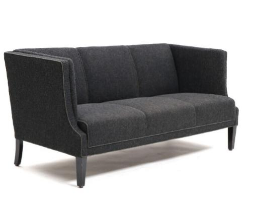 Three-seater sofa upholstered with charcoal grey wool