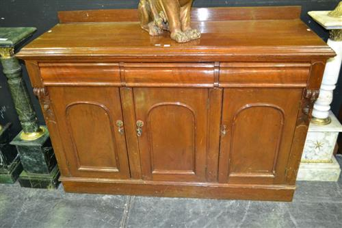 Late 19th Century Cedar Sideboard, with three drawers and three arched panel doors (Key In Office)