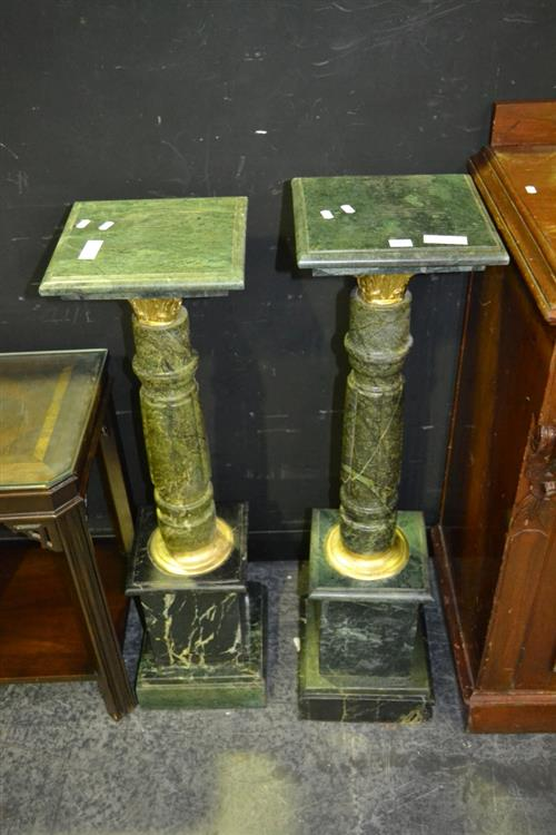 Pair of Green Marble Pedestals With Metal Banding
