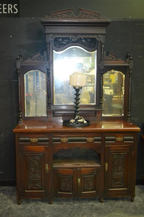 Edwardian Carved Pine Sideboard, with high triple mirror back, above three drawers, open shelf and four doors