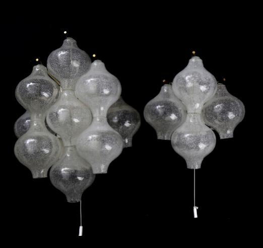 """""""Tulipan"""". Two wall lamps with four and nine mouth blown glass shades"""