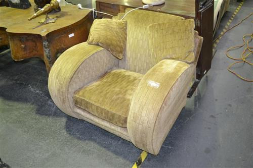 Pair of Art Deco Armchairs in Gold Fabric